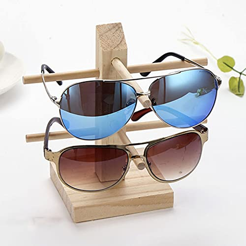 yuanxue Modern Solid Wooden Eyewear Display Stand Eyeglasses Sunglasses Frame Organizer Shop Home Show Rack Showcase Stand Holder (Single Row-2 Pairs)