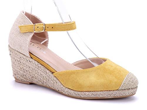 Schuhtempel24 Damen Schuhe Keilsandaletten Sandalen Sandaletten gelb Keilabsatz 8 cm