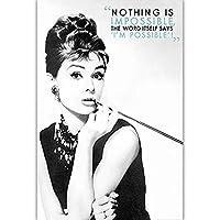 クラシックファッションオードリー・ヘップバーン引用キャンバスプリントポスター現代ウォールアート写真ハリウッドの伝説ノスタルジアピクチャーホームデコレーション、フレームレスを印刷します,60×80cm