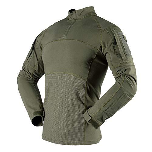 Herren-Langarmshirt, atmungsaktiv, militärisch, taktisch, Airsoft, Kleidung, Outdoor-Oberteil mit Reißverschlusstaschen Gr. XL, armee-grün