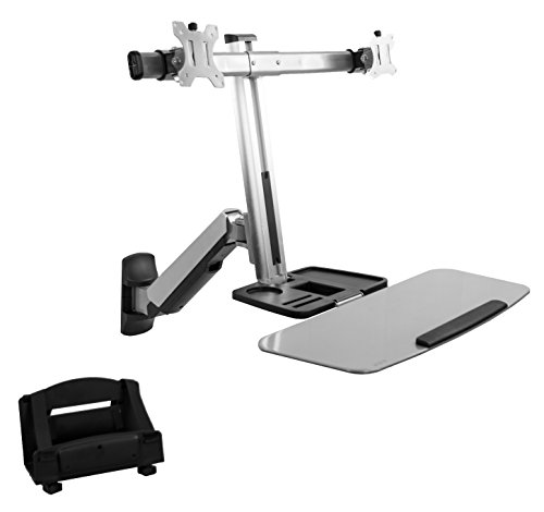 VIVO Dual Monitor and Keyboard Counterbalance Sit-Stand Wall Mount | Ergonomic Standing Transition Workstation (STAND-SIT2W)