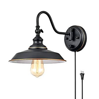 TRLIFE Dimmable Wall Sconce, Wall Sconce Plug in Wall Mounted Light, Gooseneck Wall Light Fixture with On/Off Switch, Wall Sconce Lighting with 6FT Plug in Cord, E26 Base, UL Listed