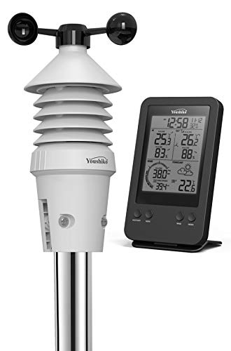 Photo of Youshiko Weather Station (Premium Quality) Radio Control Clock (Official UK Version) & Professional 3-in-1 Wireless Sensor (Wind speed, Temperature & Humidity) with added Feels Like sensation reading