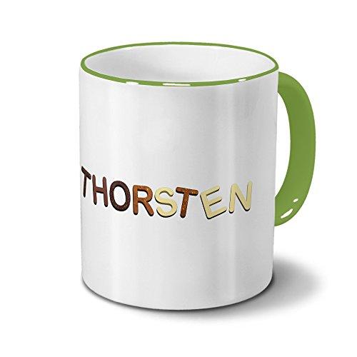 printplanet Tasse mit Namen Thorsten - Motiv Schokoladenbuchstaben - Namenstasse, Kaffeebecher, Mug, Becher, Kaffeetasse - Farbe Grün
