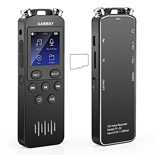 2021 Upgrade 48GB Digital Voice Recorder 1536kbps Mini Audio Recorder for Lectures, Meetings Interviews,USB Files Transferred/ 3.5mm Plug/MP3 Player/Password/Variable Speed/Cycle Play Mode