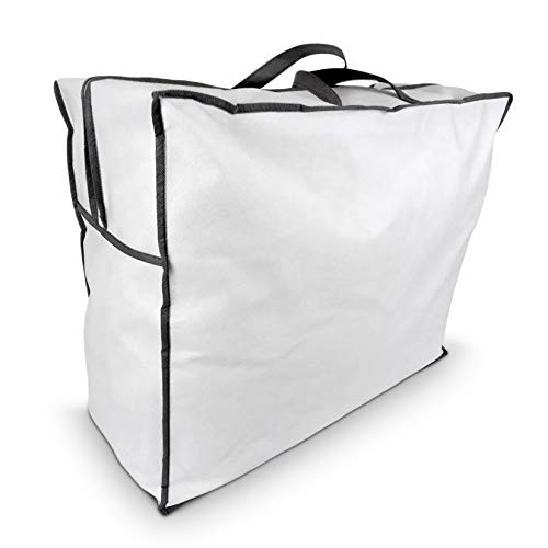 Aufbewahrungstasche für Bettdecken und Kissen, Trage-Tasche für Bettzeug oder Matratzenauflagen, handliche Reißverschluss-Box aus Vlies in 60cm x 50cm x 25cm