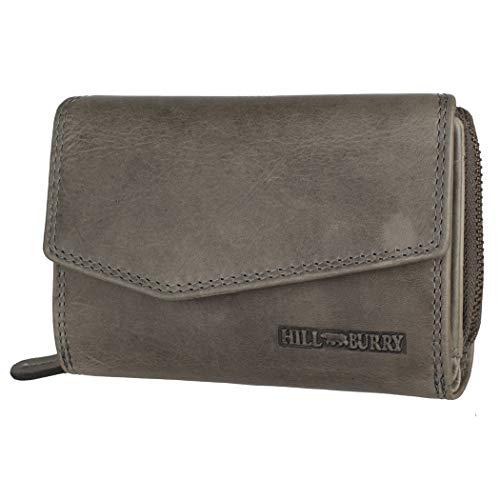Hill Burry Echtleder Damen Geldbörse Hochwertig Vintage Chunkyrayan 13092 Grey