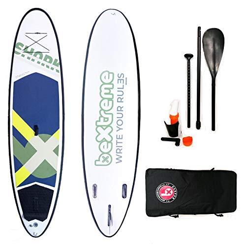 Tabla Paddle Surf Hinchable BeXtreme Shark. Tabla Sup Hinchable Unisex Doble Capa termosellada Fusion. Stand up Paddle Surf Kit Remo, Mochila, Aleta USBOX y reparación. Medidas 10.4'x32 x5