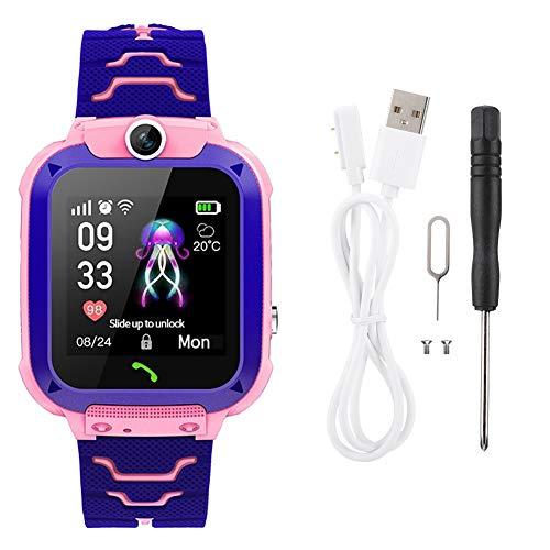 Lafey Reloj de teléfono para niños Juegos Integrados 13 Reloj Inteligente de Llamadas entrantes para posicionar el teléfono de Emergencia para niños(Pink)