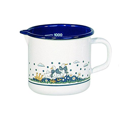 Krüger 4142 Milchtopf Gänseglück 14 cm, Emaille, 1.5 liters, mehrfarbig
