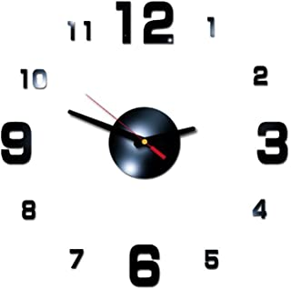 AKIMPE Wall Clock Silent Non Ticking Quartz Digital Large Round Decorative Glass Cover Modern Battery Operated for Living Room Home Office Bedroom Classroom Black
