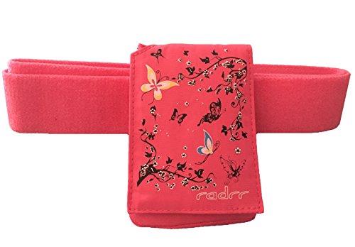 Funda con para bomba de insulina Velstretch–Cinturón Mariposas, color rosa