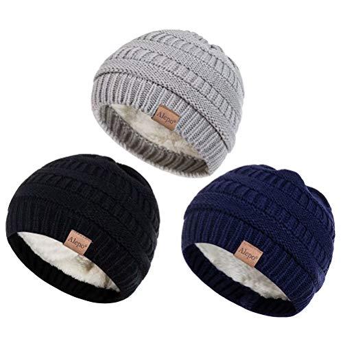 Alepo Fleece Lined Baby Beanie Hat, Infant Newborn Toddler Kids Winter Warm Knit Cap for Boys Girls (Black&Navy&Light Gray)