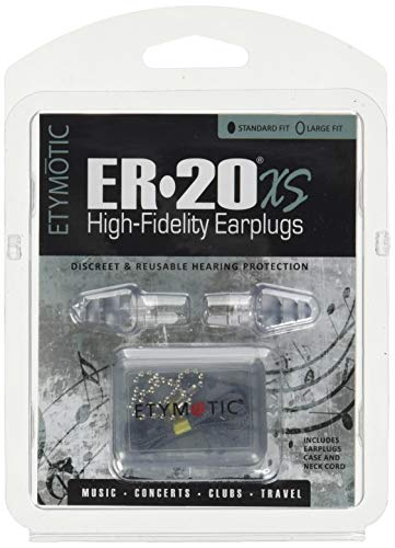 Etymotic Research ER20XS High-Fidelity Earplugs (Concerts, Musicians, Airplanes, Motorcycles, Sensitivity and Universal Hearing Protection) - Standard, Clear Stem