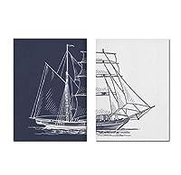 chenjiaxu 北欧の手描きのセーリングポスター航海ボートキャンバス絵画壁アートプリント船海軍アートワークリビングルームの写真家の装飾-50x70cmx2フレームなし