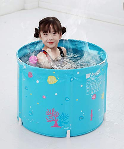 45x58cm Faltbare Badewanne for Kinder Studenten Faltbare Badewannen Folding Bad Barrel Kinder Tubs Badewanne Thick Kunststoff Baby-Bad Barrel Kinder-Badebottich Blaue Farbe (Size : 1 Bathtub)