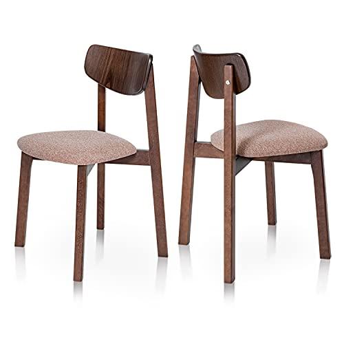 Küchenstühle 2 Stück Esszimmerstuhl Stühle Holzbeine Modern für Esszimmer Stuhl Holz Polsterstuhl mit Stoffbezug Esszimmerstühle aus Holz Gepolstert für Küche 470 x 500 x 790 Modell Vega