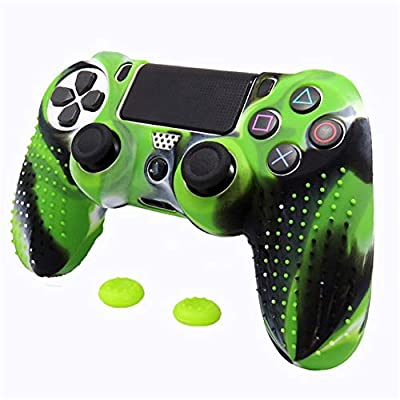 TSAUTOP Slim Console Skin Cover with Controller Grip Caps Silicone Case for Dualshock 4 for Playstation 4 PS4 Pro ( Color : Green Camo )