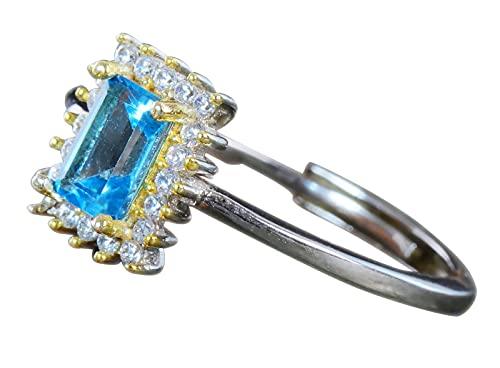 NicoWerk Anillo de plata de ley 925 para mujer, topacio azul, elegante, rectangular, ajustable, abierto SRI736