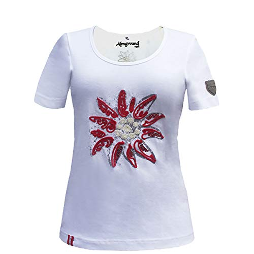 Almgwand W Steireralm Weiß, Damen Kurzarm-Shirt, Größe L - Farbe White