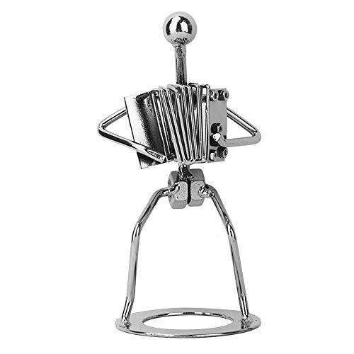 Poppen speelgoedfiguren cadeau voor vrienden metalen muzikant accordeon speler beeldje muziekinstrument sculptuur standbeeld café kantoor decoratie display decoratie verzamelobjecten, verjaardagscadeau
