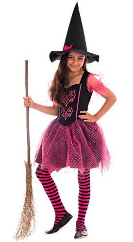 Magicoo Disfraz de Bruja para niña, Color Rosa y Negro, Vestido y Sombrero, Talla 92 a 140, Disfraz de Bruja para Halloween