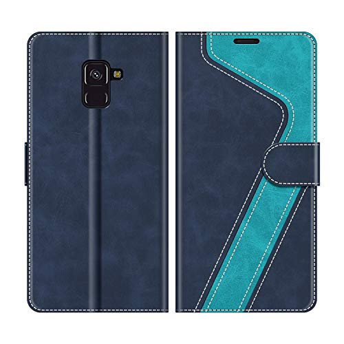MOBESV Funda para Samsung Galaxy A8 2018, Funda Libro Samsung A8 2018, Funda Móvil Samsung Galaxy A8 2018 Magnético Carcasa para Samsung Galaxy A8 2018 Funda con Tapa, Azul