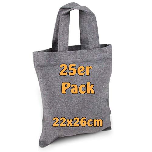 Cottonbagjoe katoenen tas jute zak onbedrukt ideaal voor het beschilderen apothekerstas geschenktas klein 22x26cm 25 Stück grijs