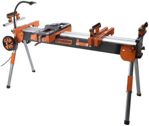 Folding Miter Saw Power Tool Stand with Wheels, Light, Vise and 4-Outlet 110V Power Strip Pro Portamate PM-7000. Heavy Duty Contractor Grade with Quick Attach Mounts and Plenty of Extra Features