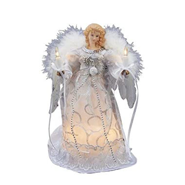 Kurt Adler UL 10-Light Angel Treetop, 9-Inch, White/Silver