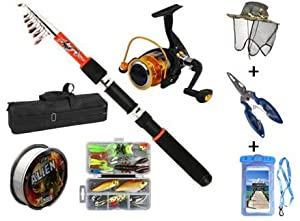 Fishing Rod and Reel Combo, Ultimate Fishing Package Carry case, Rod and Reel, Tackle and Box, Line, Bug Cap, Fishing Pliers and Floating Waterproof Cell Phone case Salt and Freshwater Set.