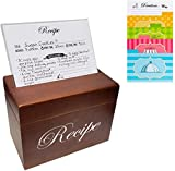 Stock Your Home Hand-Crafted Wooden Recipe Box - 75 Recipe Cards and 8 Dividers - Easy Vie...