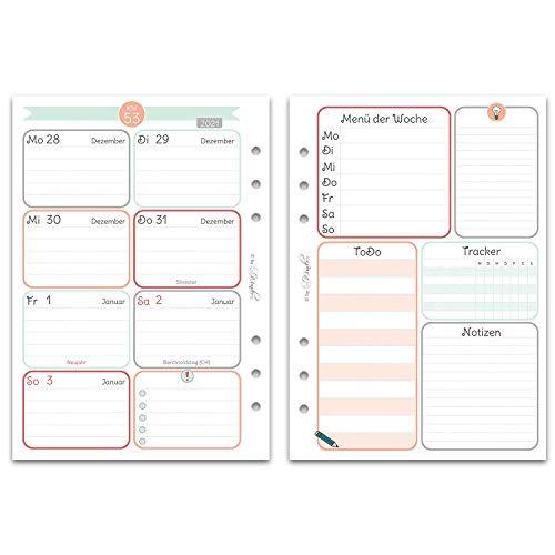 SinnWunder® Premium-Kalendereinlagen - Wochenplan mit 1 Woche auf 2 Seiten - HappySinn (2021 - Din A5)