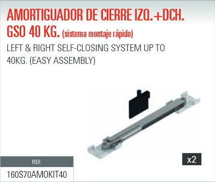 ADINOR SISTEMA MONTAJE RAPIDO AMORTIGUADOR (GSO/GSU) CIERRE PUERTAS CORREDERAS 40Kg DCH + IZQ (2 un.)