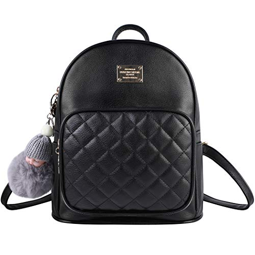 backpack womens, Bageek black small backpack PU leather ladies backpacks 2PCS rucksack women with Doll ornaments anti theft backpack
