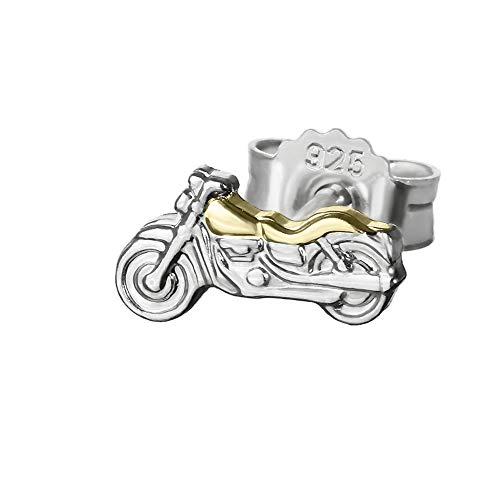 NKlaus Einzel Motorrad klein 925 Sterlingsilber Ohrstecker Bicolor 8*4mm Silber Ohrring 4833
