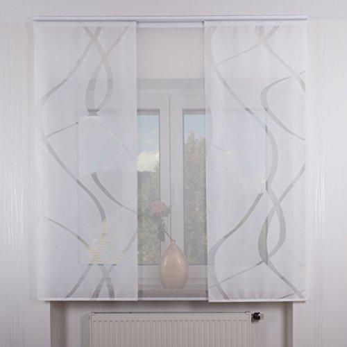 3er Set Schiebegardine Flächenvorhang inkl. Zubehör (in versch. Längen) Feline-Teresa II, Farbe:weiß, Vorhanglänge:160 cm, Farbe Paneelwagen:Weiß