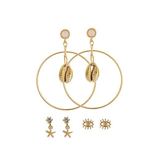 Pendientes del ojo del mal 3 pares/conjunto seashell estrella hembra starfish concha Círculo Stud Pendientes oreja oro playa joyería regalo