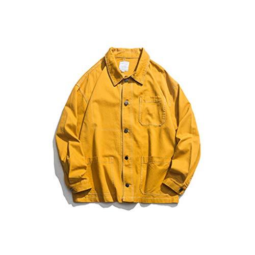 Retro Langarm Denim Hemd Trendy Casual Mode Denim Jacke Lose Mehrere Patchwork Taschen Tops Gr. XX-Large, gelb