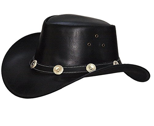 Lederen hoed Westernhoed hoed zwart leer hoedband met conchas