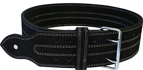 Leather Power Weight Lifting Belt- 4' Black (Large)