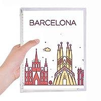 バルセロナスペインフラットランドマークパターン 硬質プラスチックルーズリーフノートノート