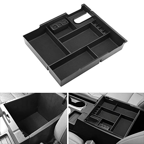 Secondary Storage Liner Accessories Custom Fit Cup Armrest Box for Audi Q3 Center Console Organizer Insert ABS Black Materials Tray