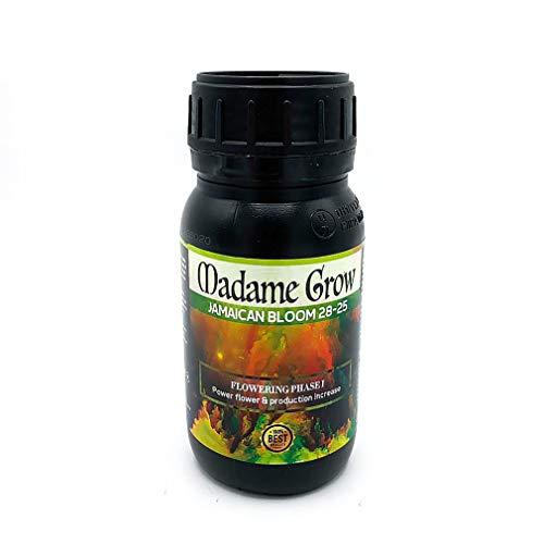 MADAME GROW   Concime Organico Fioritura Cannabis - Nutrienti per la fioritura Jamaican Bloom 28-25 Concentrato di fosforo e potassio 28-25, con molibdeno moltiplica Il Numero di Fiori (250 ml)