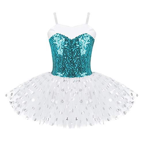 IEFIEL Maillot Vestido de Ballet Danza Lentejuelas para Niña Tutú Bailarina Leotardo Gimnasia Patinaje Tutú Ballet Brillante Verde 8 años