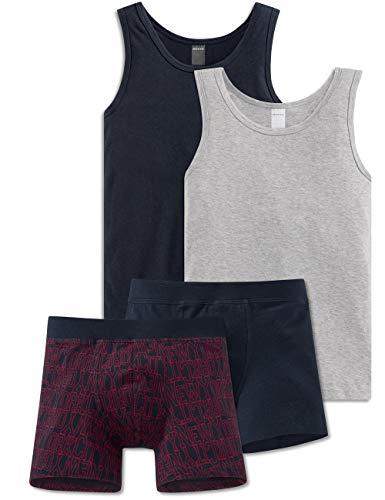 Schiesser Jungen Teens - großes 4-teiliges Unterwäsche Set Unterhemd + Shorts aus der Serie Red Power Blau/Rot/Grau (164)