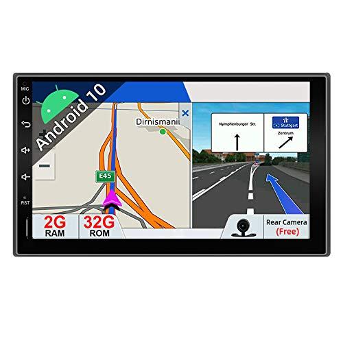JOYX Android 10 Doppel Din Autoradio Radio Mit Sat Navi -2G+32G - Rückfahrkamera KOSTENLOS - 7 Zoll HD Bildschirm - Unterstützen DAB+ Lenkradsteuerung 4G WiFi Bluetooth Mirrorlink Carplay OBD USB GPS