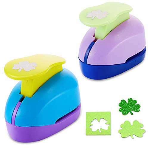 2 Pieces 0.9 Inch, 1.6 Inch Shamrock Paper Punches Four-Leaf Craft Hole Punch 2 Sizes Paper Punchers for School Teacher Office Irish Festival Handicrafts Decorations Making