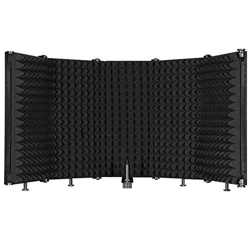 Doubleblack Sound Shield per Microfono: 5 Pieghevole Insonorizzate Shield Schermo con Isolamento Assorbente in Schiuma Fonoassorbente per Microfoni Condensatore Recording Equipment Studio Nero