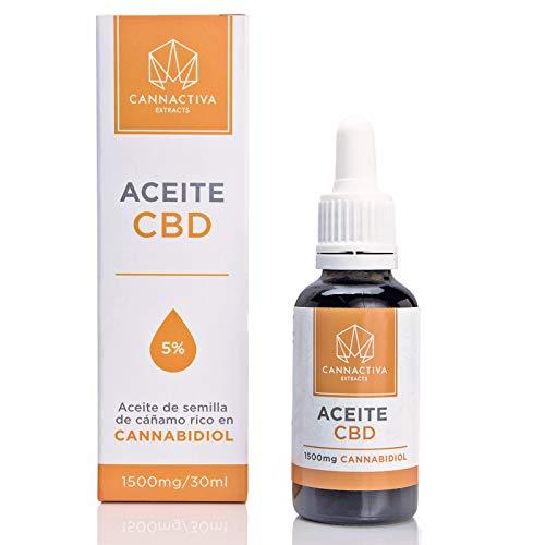 Aceite de CBD Cannactiva - Aceite de semilla de cáñamo rico en Cannabidiol - (30ml, 5% Cannabidiol)